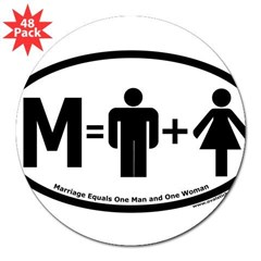 "Marriage Equals One Man and One Woman Oval 3"" Lapel Sticker (48 pk)"