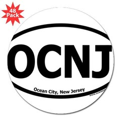"Ocean City, New Jersey ""OCNJ"" Oval 3"" Lapel Sticker (48 pk)"