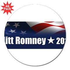 "Mitt Romney 2012 3"" Lapel Sticker (48 pk)"