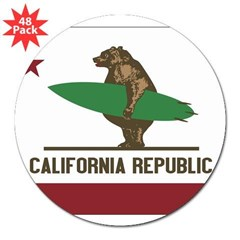 "California Surfing Bear Flag 3"" Lapel Sticker (48 pk)"
