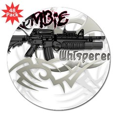 "Zombie Whisperer Hunter M16 3"" Lapel Sticker (48 pk)"