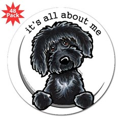"Black Labradoodle IAAM 3"" Lapel Sticker (48 pk)"