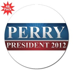 "Rick Perry 2012 3"" Lapel Sticker (48 pk)"