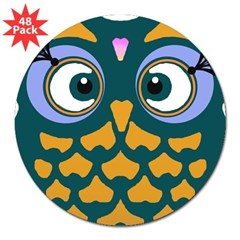 "Retro Owl 3"" Lapel Sticker (48 pk)"