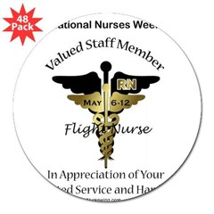Nurses Week Flight Nurse Sticker (Oval) BCD 3&quot; Lapel Sticker (48 pk)