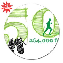 "50 Mile Ultra Marathon Men 3"" Lapel Sticker (48 pk)"