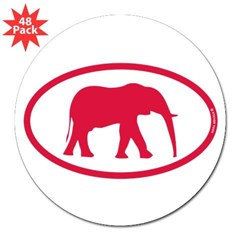 "Alabama Red Elephant II 3"" Lapel Sticker (48 pk)"