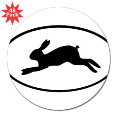 "Rabbit Oval 3"" Lapel Sticker (48 pk)"