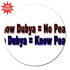 "No Dubya 3"" Lapel Sticker (48 pk)"