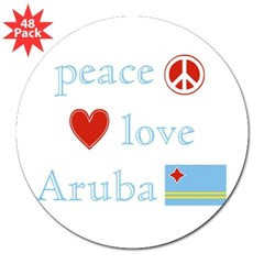 "Peace, Love and Aruba 3"" Lapel Sticker (48 pk)"