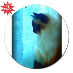 "DollyCat Atmosphere - Ragdoll Cat - 3"" Lapel Sticker (48 pk)"
