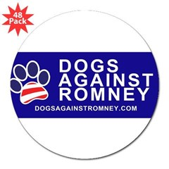 "Official Dogs Against Romney Paw 3"" Lapel Sticker (48 pk)"