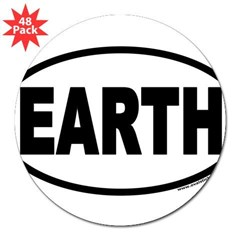"Earth Day EARTH Euro Oval 3"" Lapel Sticker (48 pk)"