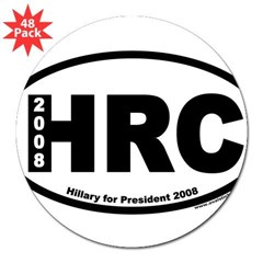 "Hillary Clinton for President HRC Oval 3"" Lapel Sticker (48 pk)"