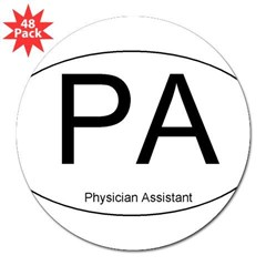 "Physician Assistant Oval 3"" Lapel Sticker (48 pk)"