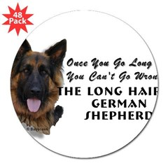 "New Item! Long Haired German Shepherd 3"" Lapel Sticker (48 pk)"