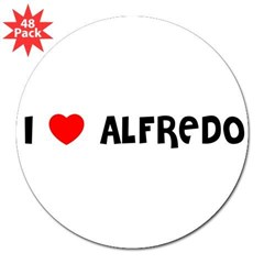 "I LOVE ALFREDO 3"" Lapel Sticker (48 pk)"