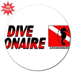 "Dive Bonaire (red) 3"" Lapel Sticker (48 pk)"