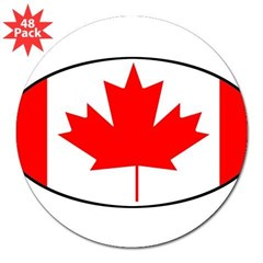 "Canadian Flag Oval 3"" Lapel Sticker (48 pk)"