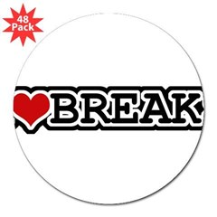 "I Love Breaks 3"" Lapel Sticker (48 pk)"