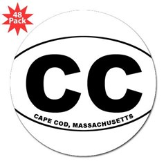 "Cape Cod, MA Oval 3"" Lapel Sticker (48 pk)"