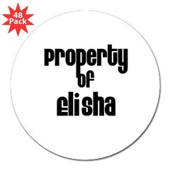 "Property of Elisha Rectangle 3"" Lapel Sticker (48 pk)"