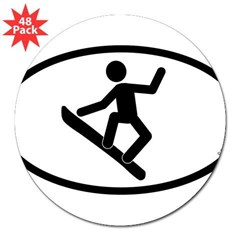 """Snowboarder"" - Oval 3"" Lapel Sticker (48 pk)"