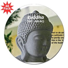 "Eastern Philosophy: Buddha Rectangle 3"" Lapel Sticker (48 pk)"