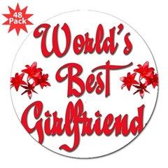 "World's Best Girlfriend Rectangle 3"" Lapel Sticker (48 pk)"