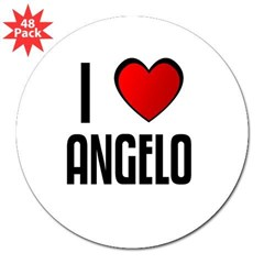 "I LOVE ANGELO Rectangle 3"" Lapel Sticker (48 pk)"