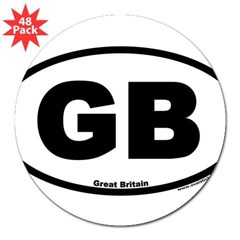 "Great Britain GB Euro Oval 3"" Lapel Sticker (48 pk)"