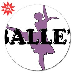"Female Ballet Silhouette Rectangle 3"" Lapel Sticker (48 pk)"