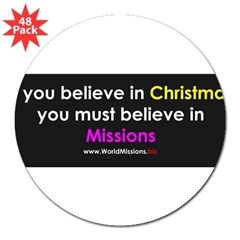"Christmas & Mission 3"" Lapel Sticker (48 pk)"