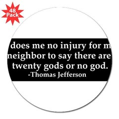 "Jefferson religious tolerence 3"" Lapel Sticker (48 pk)"