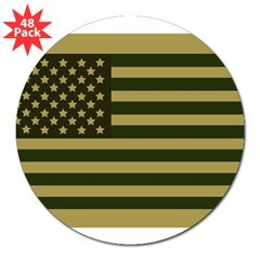 "American Flag Sticker (Drab) 3"" Lapel Sticker (48 pk)"
