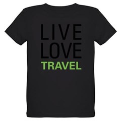 Live Love Travel Organic Kids T-Shirt (dark)