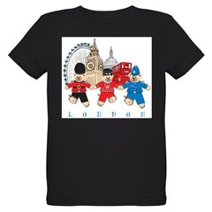 Teddy Holding Hands Organic Kids T-Shirt (dark)