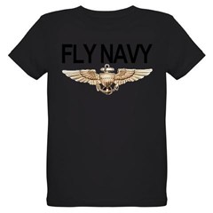 Fly Navy Wings Organic Kids T-Shirt (dark)