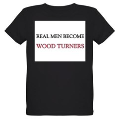 Real Men Become Wood Turners Organic Kids T-Shirt (dark)