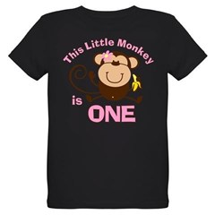 Little Monkey 1st Birthday Girl Organic Kids T-Shirt (dark)