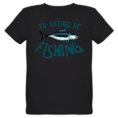 Rather Be Fishing Organic Kids T-Shirt (dark)