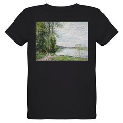 The Riverside Road from Veneux to Thomery by Alfre Organic Kids T-Shirt (dark)