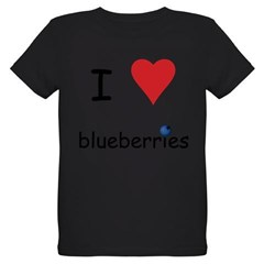 I Love Blueberries Organic Kids T-Shirt (dark)