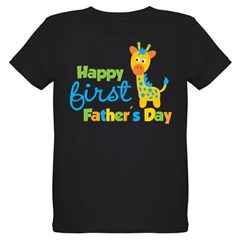 Giraffe 1st Fathers Day Organic Kids T-Shirt (dark)