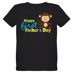 Boy Monkey Happy 1st Fathers Day Organic Kids T-Shirt (dark)
