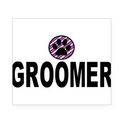 Groomer Purple Stripes Rectangle Beer Label