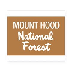 Mount Hood (Sign) National Fo Sticker (Rectangular Beer Label