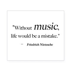 Without music, life is a mist Sticker (Rectangular Beer Label