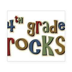 4th Grade Rocks Fourth School Sticker (Rectangular Beer Label