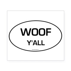 Woof Y'all (Oval) Beer Label